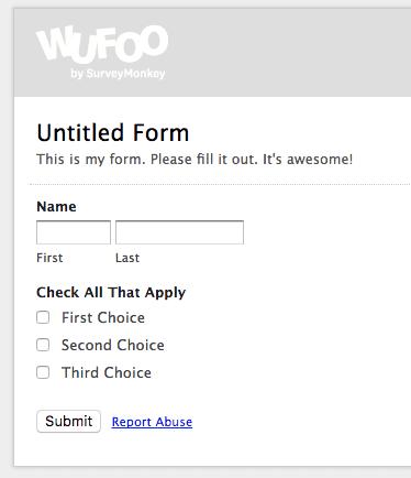 wufoo form