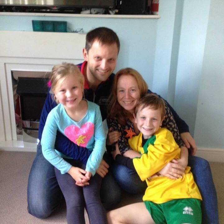Marie with husband Andy and children Amy and Daniel
