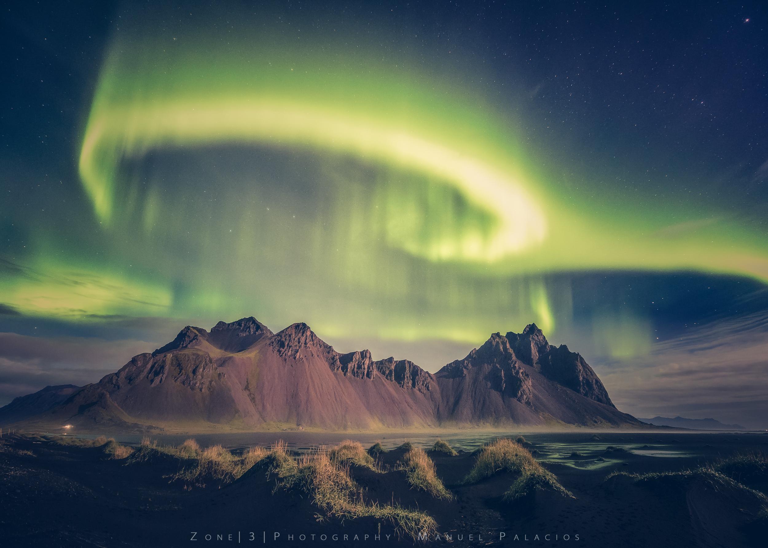 The Dancing Light of Stokksnes, Iceland.
