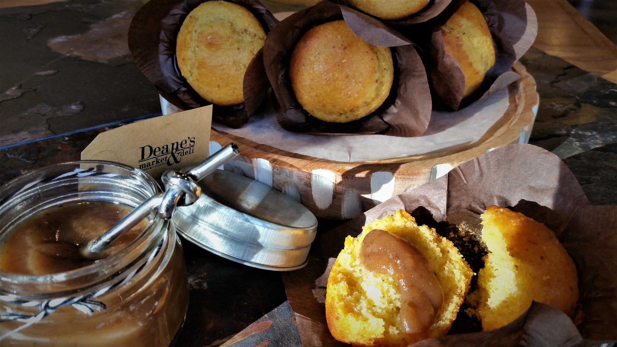 Organic corn muffins with our house made smoked apple butter.
