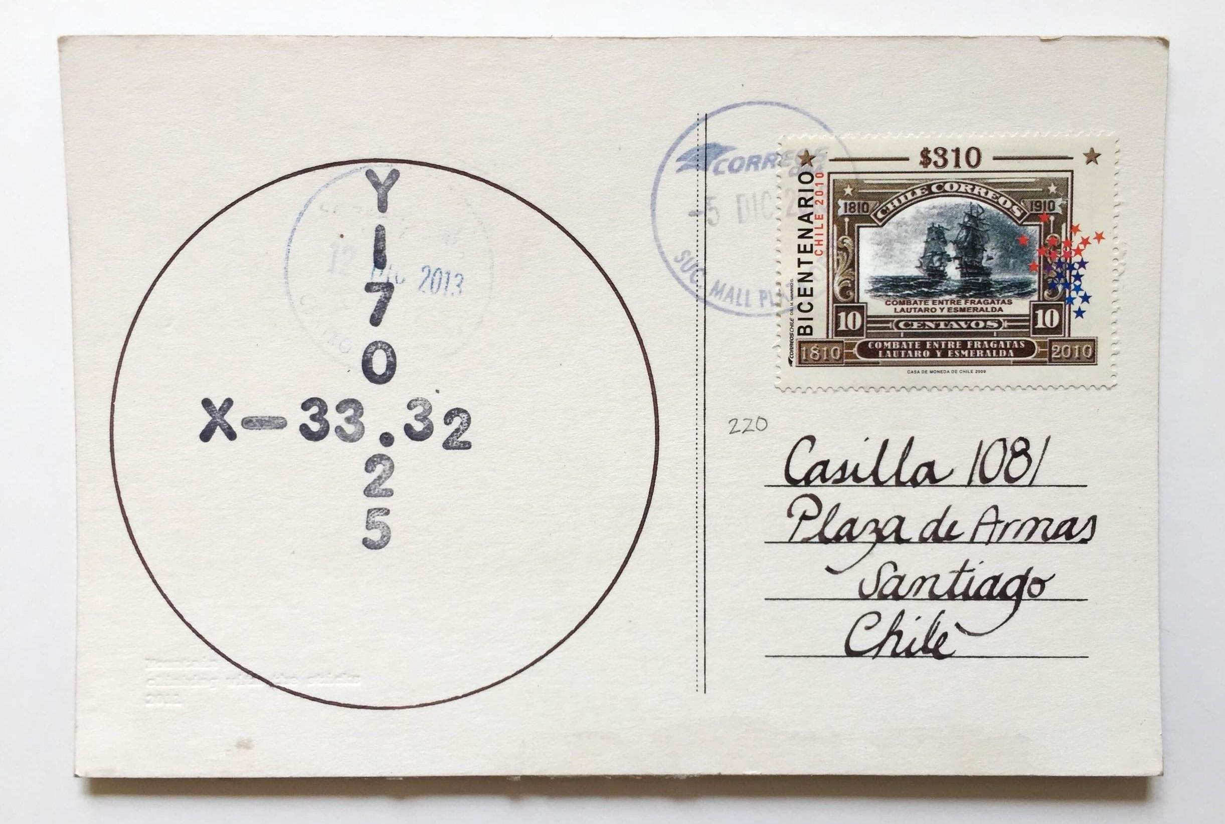 Anverso Postal, timbres con coordenadas geográficas, matasellos de correos, caligrafía y estampilla.