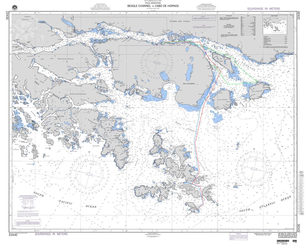 Ruta de navegación, Isla Navarino a Hornos.  (Map, Navegation Track) .