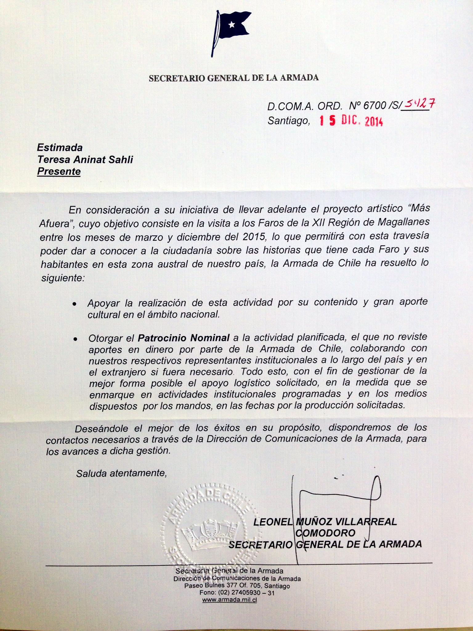 Carta de apoyo de la Armada de Chile. ( Support letter, Chilean Navy).