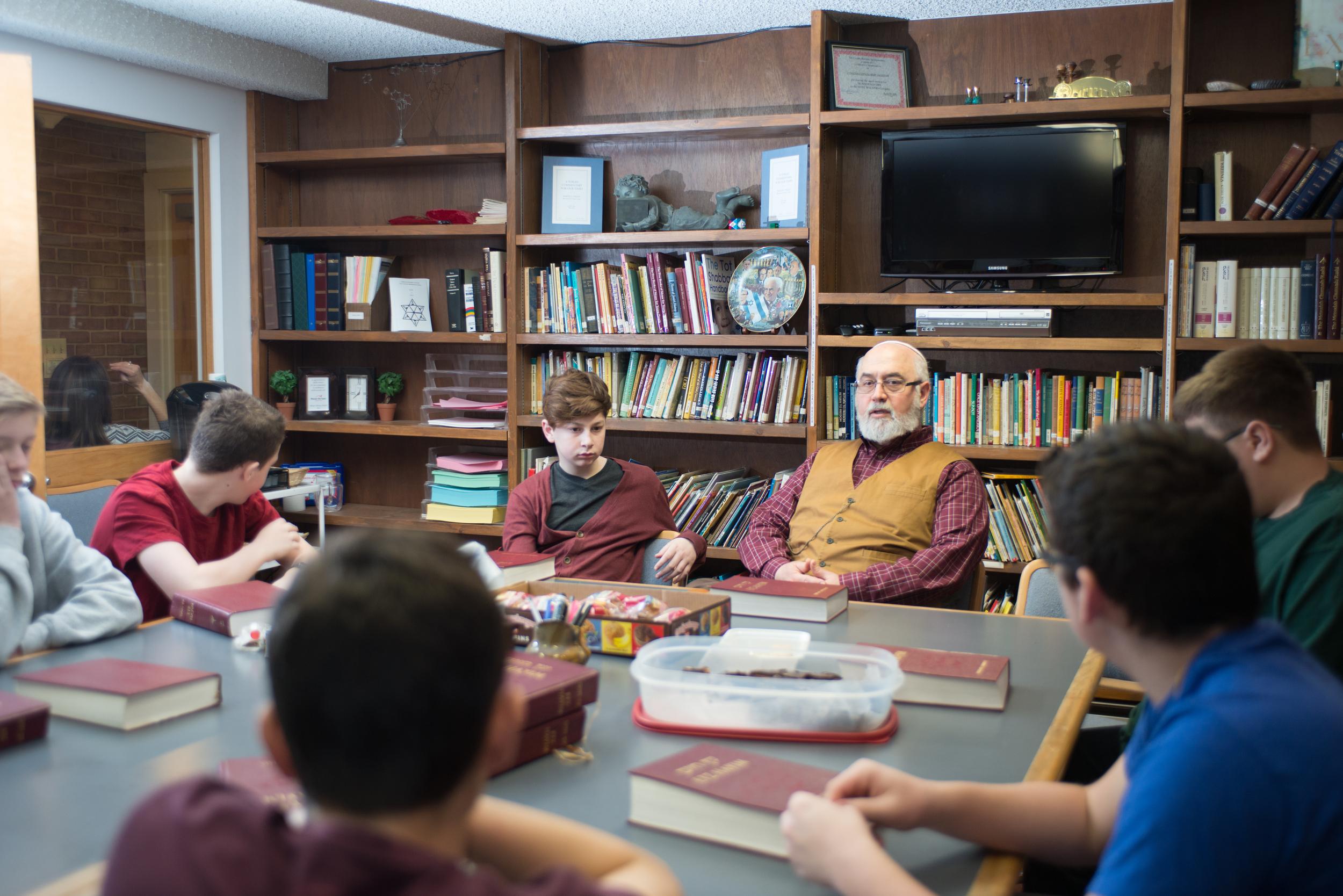 Rabbi with Teen Class