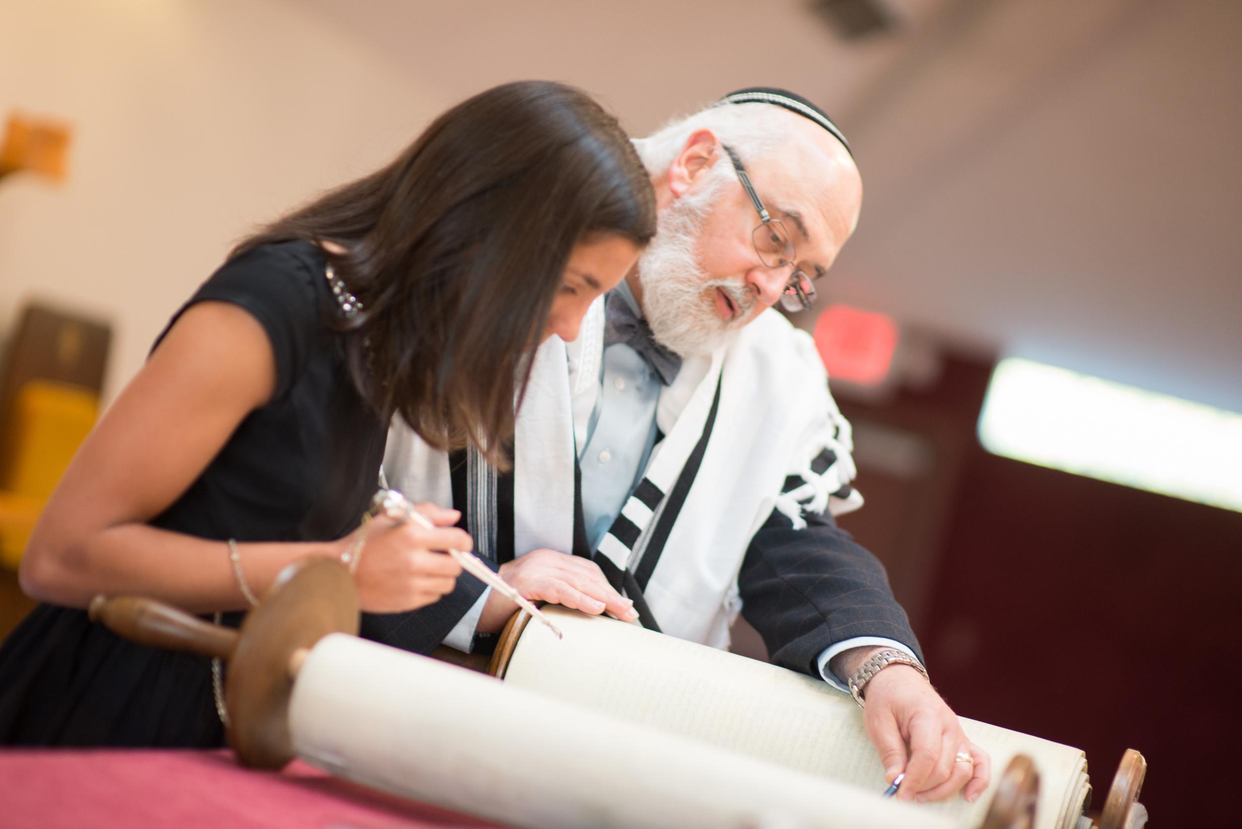 Rabbi with Bat Mitzvah Student