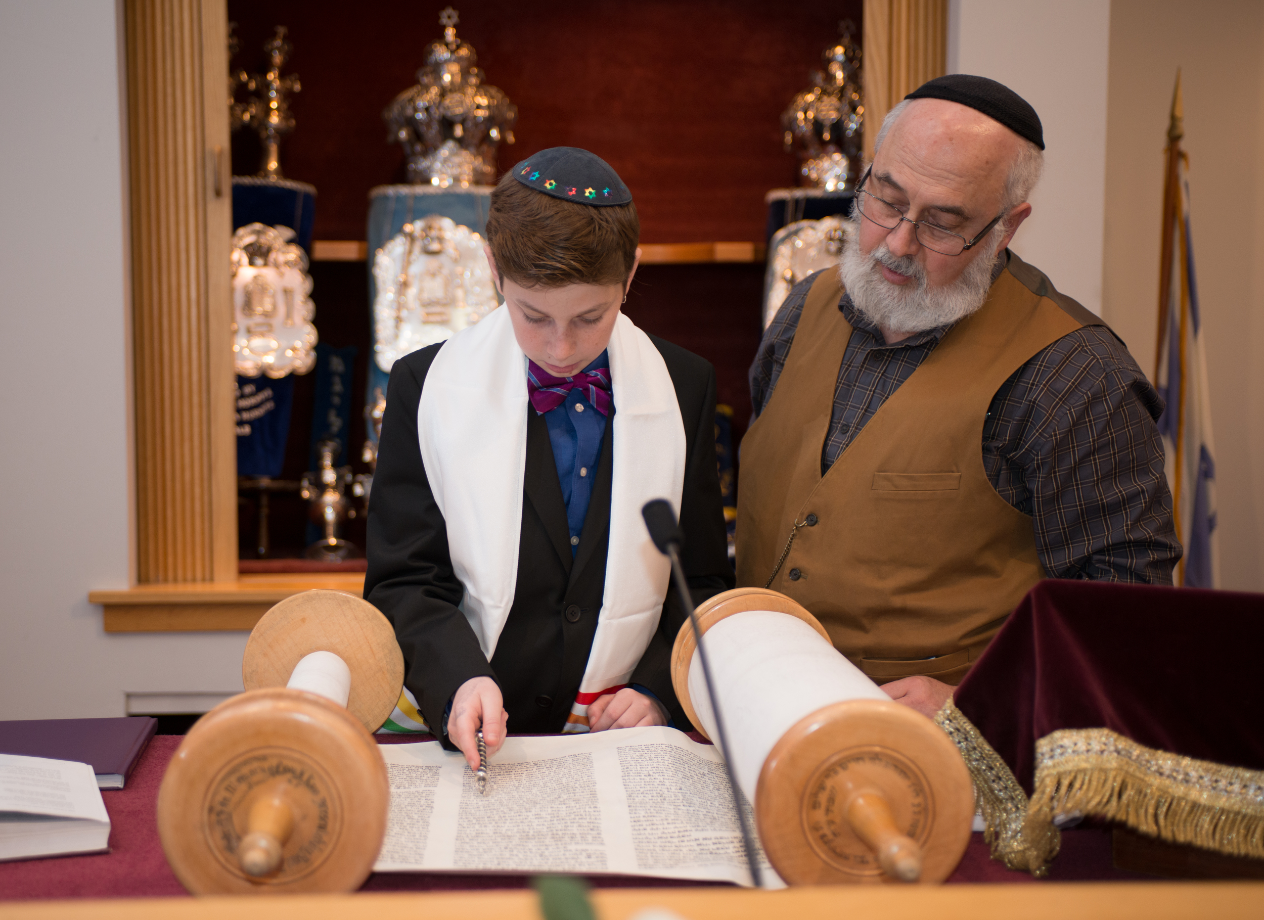 Rabbi with Bar Mitzvah Student
