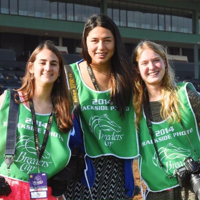 Equestricon 'Young Racing Photographers' Panelists (L to R) Averie Levanti, Sam Bussanich, and Sophie Shore working at the 2014 Breeders' Cup.