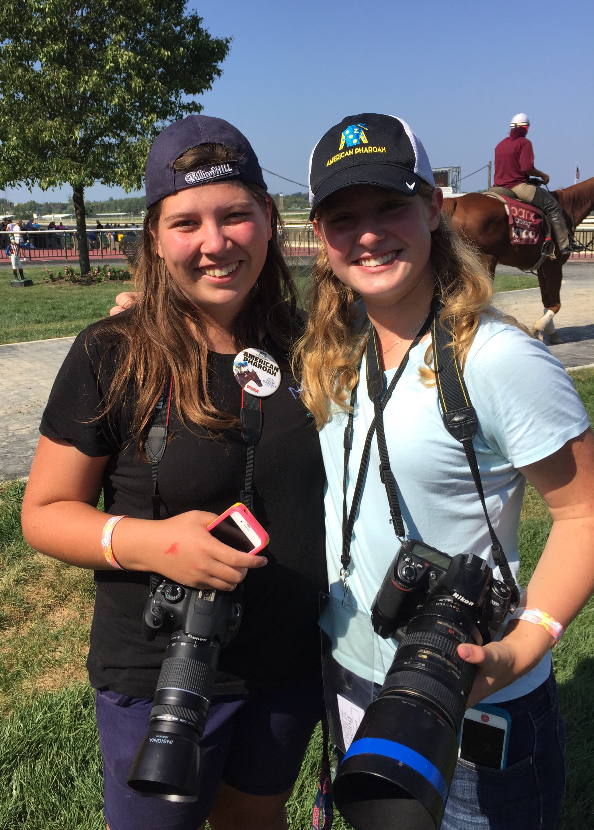 'Young Racing Photographers' Panelists Adrianna Lynch (L) and Sophie Shore (R) at Parx Racing in Bensalem, PA.