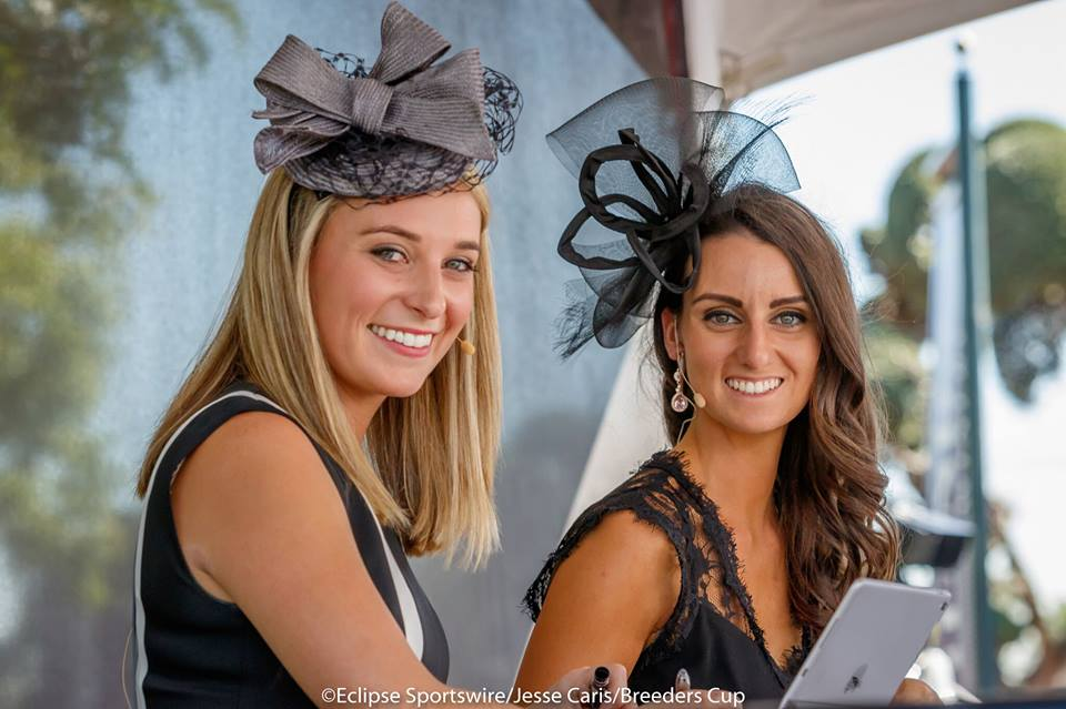 Moderator Megan Devine (right) pictured with panelist and fellow TV analyst and handicapper Gabby Gaudet.  Photo Courtesy: Eclipse Sportswire/Jesse Caris/Breeders' Cup
