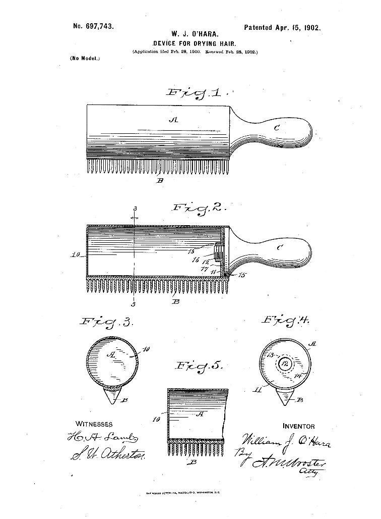 U.S. Patent  US697743 A, filed 1900