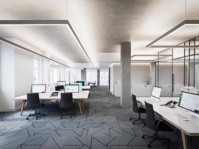 Office fit out by #Ito for #thackery #Eastcheap #london #visualisation #cgi #lighting #workspace #officechair