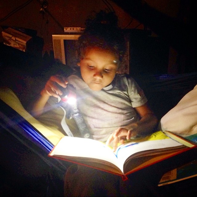 Kindergartener Allison stays up late to read a donated book. Help us put more books at her fingertips.