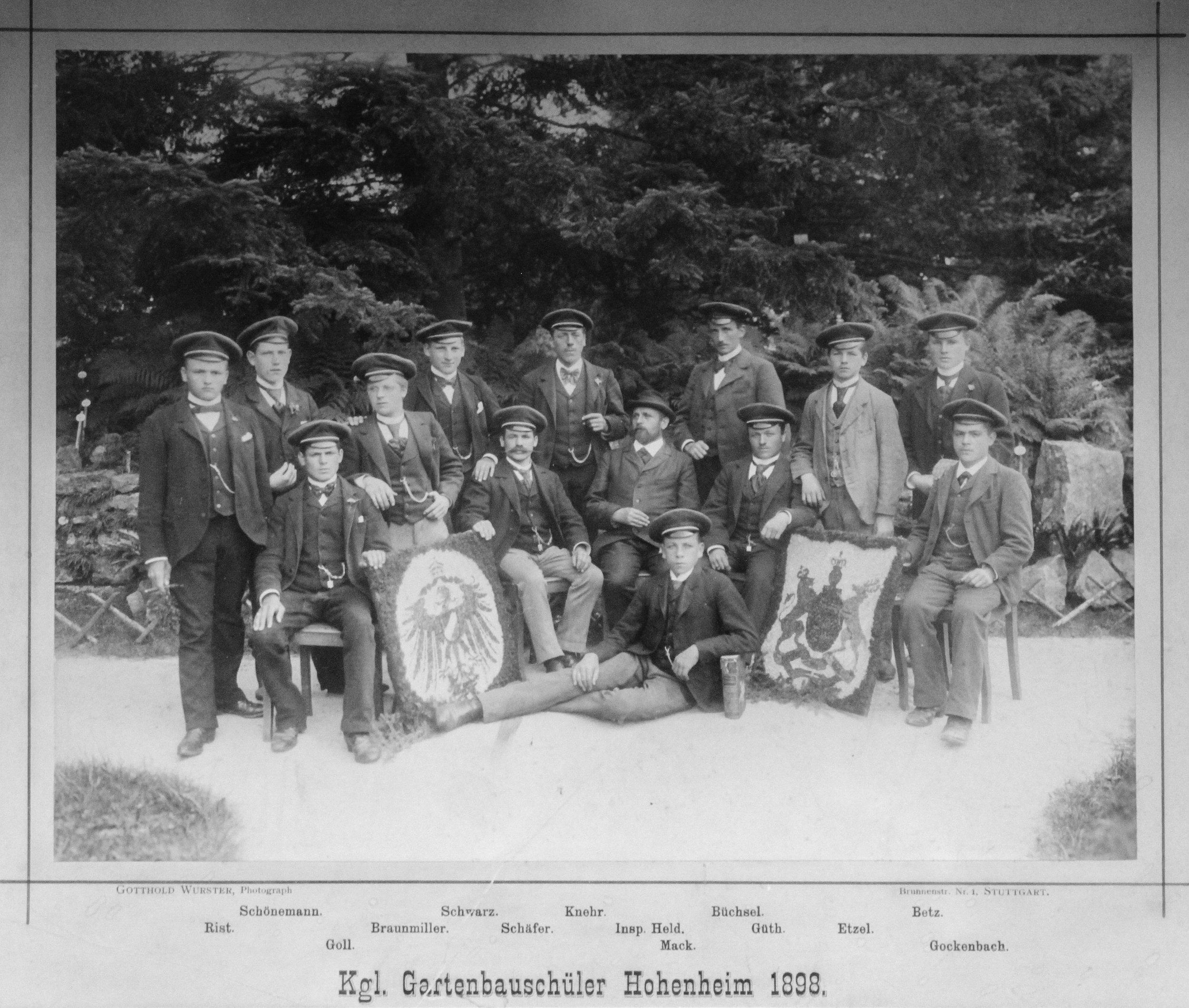 Ernst Mack als Gartenbauschüler in Hohenheim 1889
