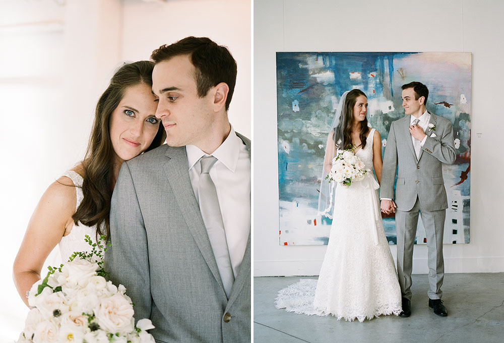 artists for humanity bride and groom portraits in front of painting