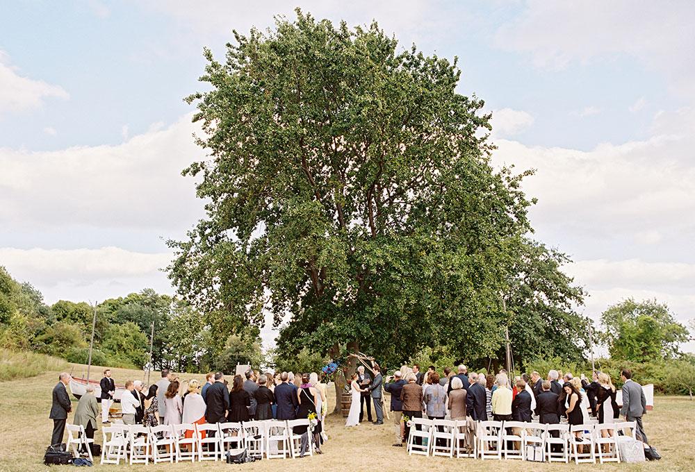 thompson island outdoor ceremony under a tree