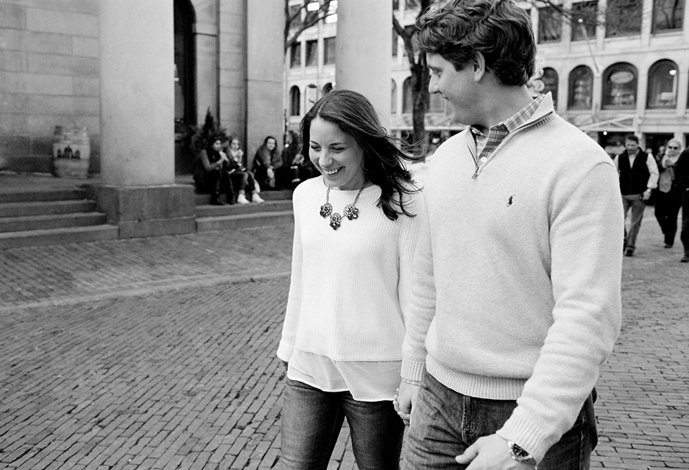 north end engagement photo in front of quincy market