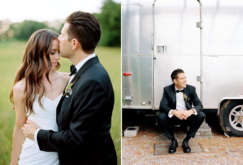 bride and groom portraits on film