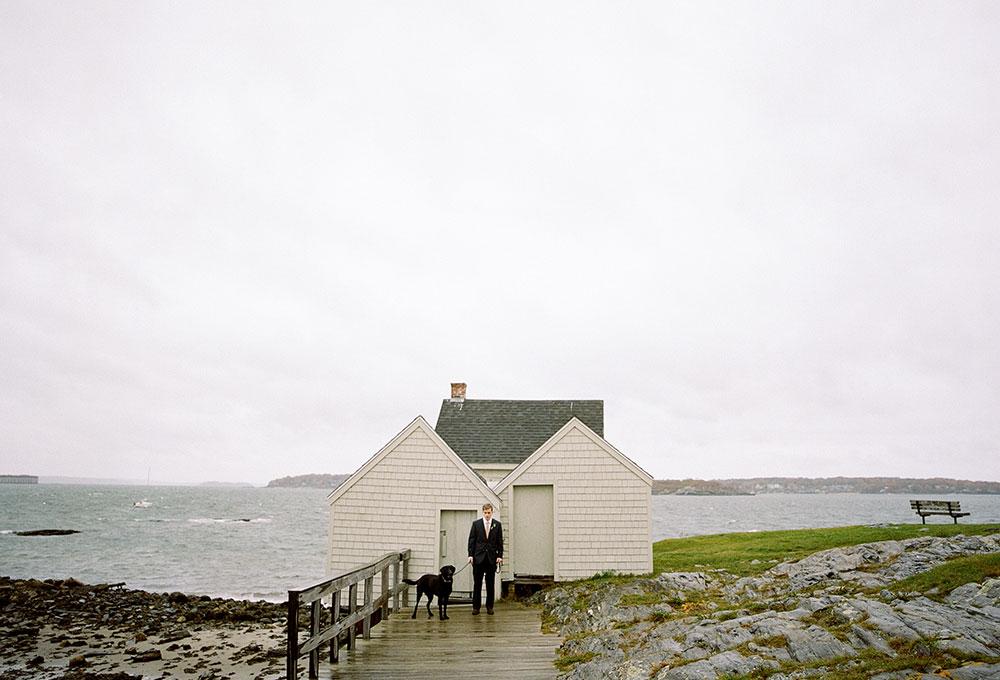 willard beach elopement in the rain
