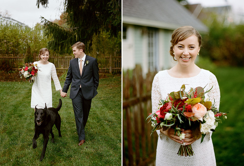 backyard portraits with the couples' dog