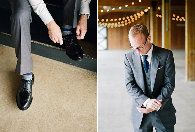 Indoor film images of groom getting ready