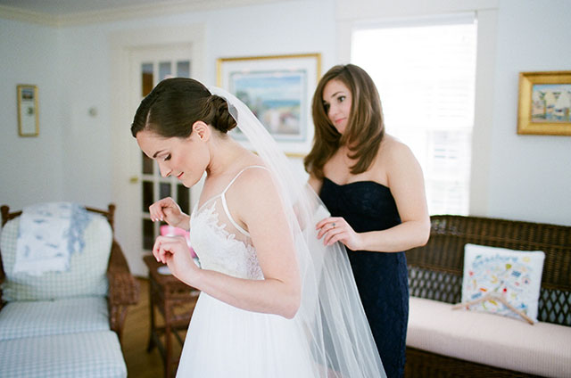 bride gets ready in her home on the Cape - Sarah Der Photography