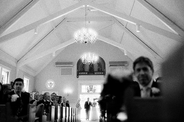 osterville church wedding ceremony shot on black and white film - Sarah Der Photography