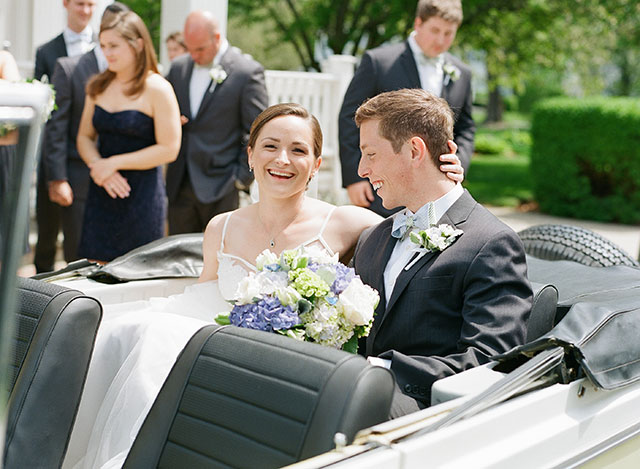 jeepster exit at wedding - Sarah Der Photography