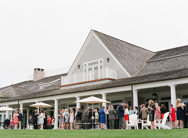oyster harbor club wedding reception cocktail hour on the terrace - Sarah Der Photography