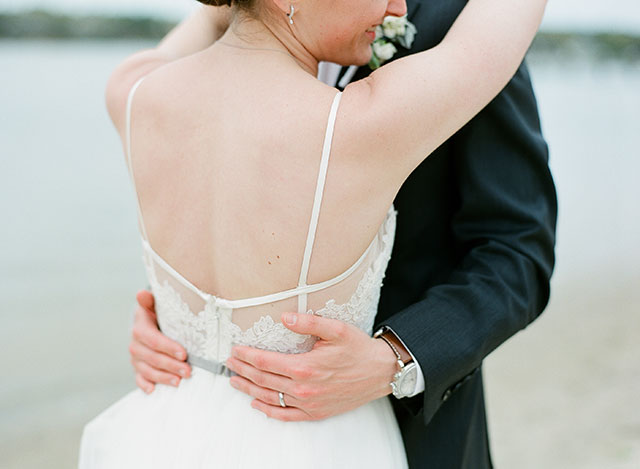 lace bridal gown with straps from BHLDN - Sarah Der Photography