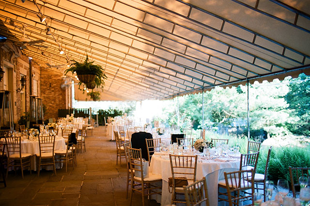 outdoor patio reception at the MIT Endicott House - Sarah Der Photography