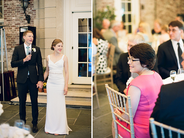 bride and groom give small toast at reception's start - Sarah Der Photography
