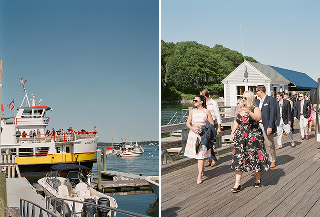 guests arrive to great diamond island disembarking ferry - Sarah Der Photography