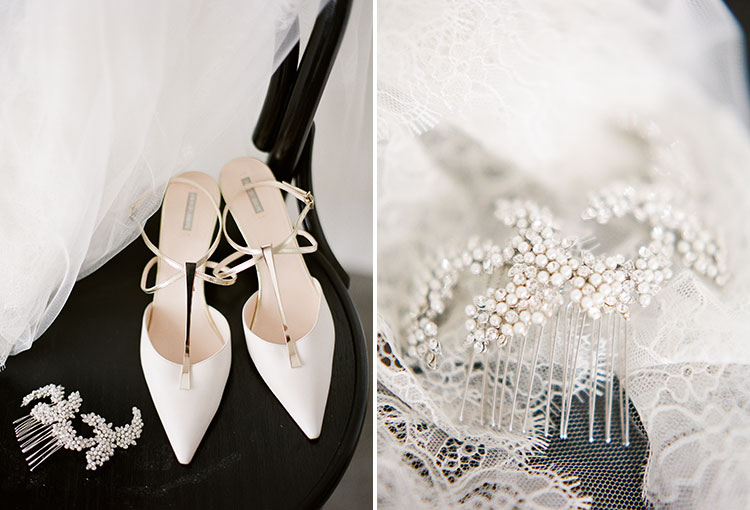 bridal shoes and jeweled comb for hair and veil - Sarah Der Photography