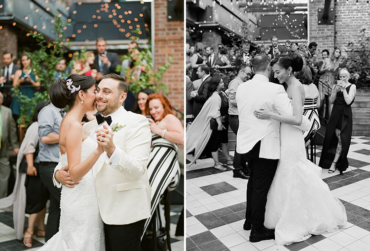 outdoor first dance with bistro lights - Sarah Der Photography