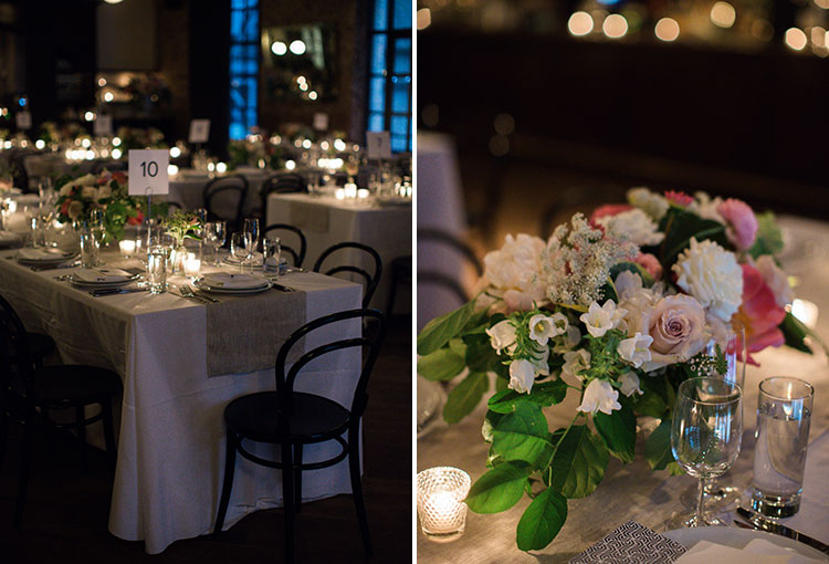 Indoor intimate reception with candles lit - Sarah Der Photography