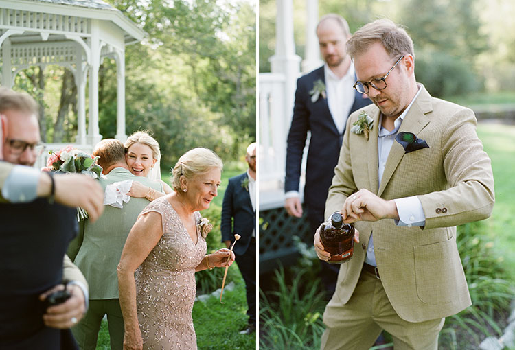 burying bourbon for good luck with the weather on your wedding day - Sarah Der Photography