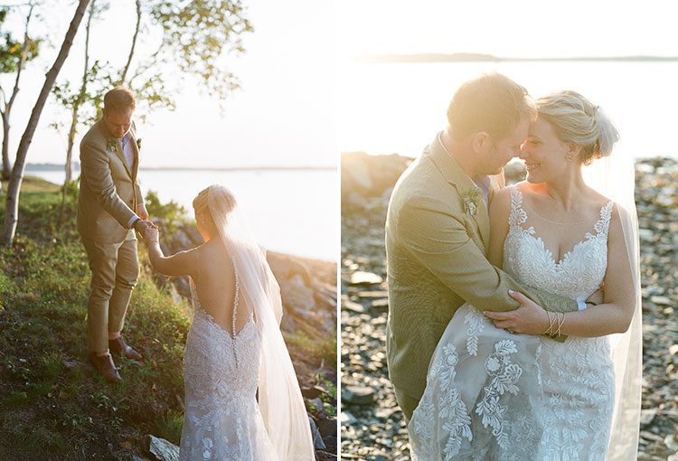 romantic backlit wedding photo of couple climbing on rocky beach - Sarah Der Photography