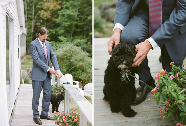 groom pets his dog while he gets ready on his wedding day - Sarah Der Photography