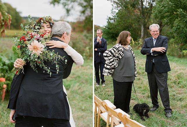 sincere photographs of bride hugging guests after ceremony - Sarah Der Photography