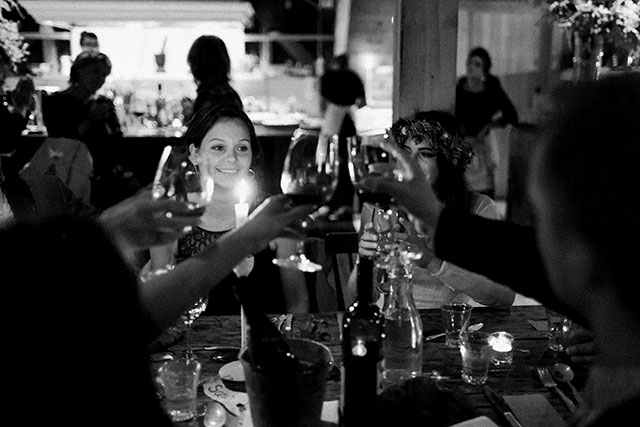 guests cheers to the happy couple! - Sarah Der Photography