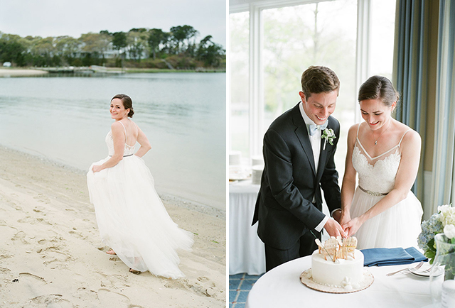 cape wedding photos of couple cutting the cake and bride walking down the beach