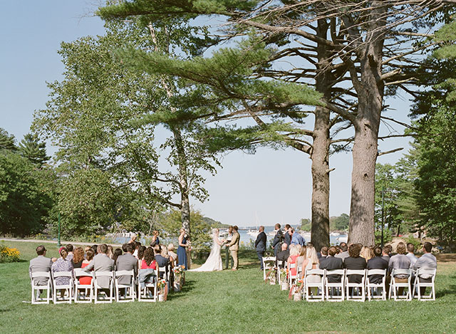 Outdoor waterfront ceremony on block island maine