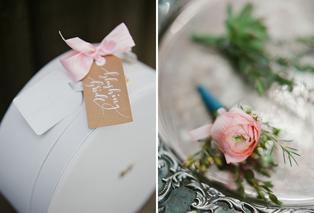 elegant wedding day details including hand written name tags and beautiful floral design