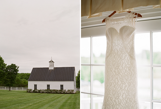 lace wedding gown hanging from window