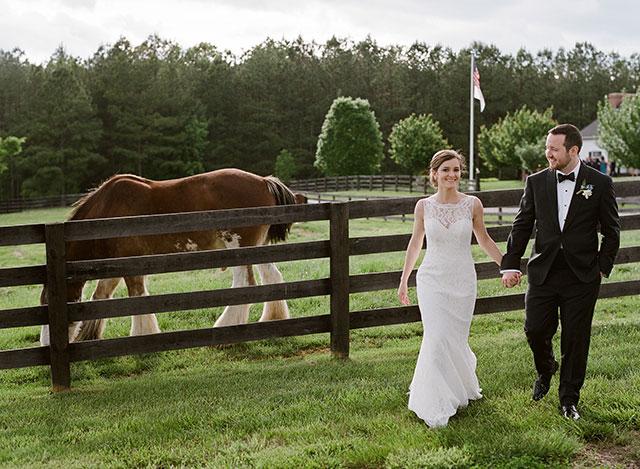 farm wedding day portraits with horses