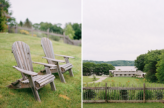 One image of lawn chairs overlooking a field and another image of marianmade barn that is used for weddings.