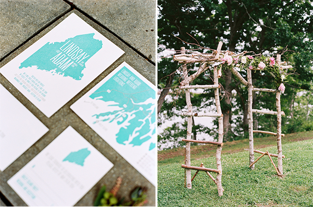 a picture of teal and white wedding inviations letterpressed, and another image of an arbor for a wedding ceremony that is decorated with florals.