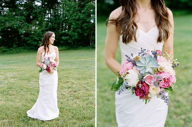 floral design by michelle peele including shades of pink, white, and green.