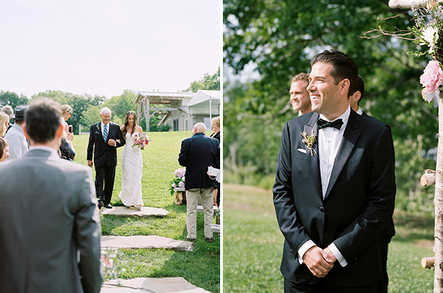 Two images of a wedding ceremony, one at a farm where the bride is walking down the aisle and the other is the groom watching her walk down the aisle.