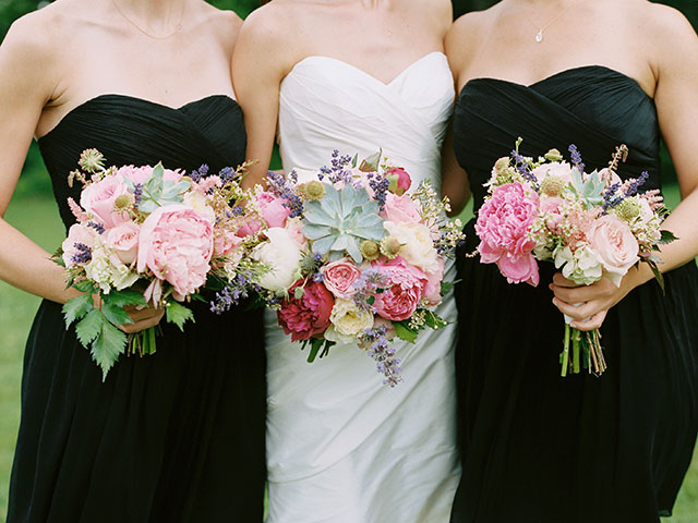 pink, green, and white floral design by michelle peele including one summery bridal bouquet and two bridesmaids bouquets.
